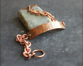 Oxidized Copper Bar Bracelet - Textured Metalwork, Raw Copper Chain, Dark Rustic Patina, Mens Womens, Unisex Jewelry