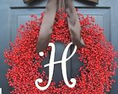 Monogram Berry Wreath- Holiday Wreath- Christmas Wreath- Christmas Decor- Valentine's Day Wreath- Holiday Wreath
