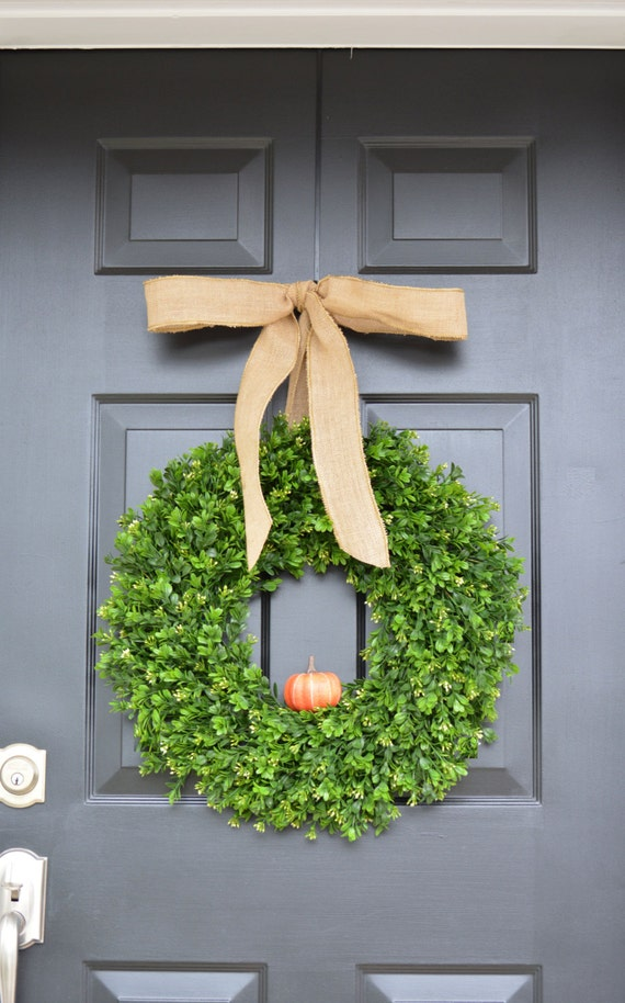 Fall Boxwood Wreath, THIN Pumpkin Fall Wreath, THIN Boxwood Door Hanging, Fall Wreaths, Fall Decor, Boxwood with Burlap Bow