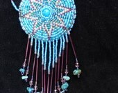 Native American Beadwork Necklace with Genuine Turquoise