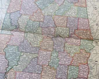 1901 State Map Alabama - Vintage Antique Map Great for Framing 100 Years Old