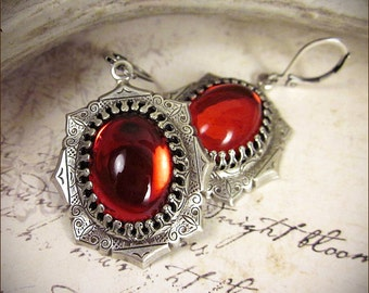 Ruby Red Renaissance Earrings, Antiqued Silver Red Jewel Earrings, Tudor Earrings, Renaissance Wedding, SCA Jewelry, Medieval, MedCol