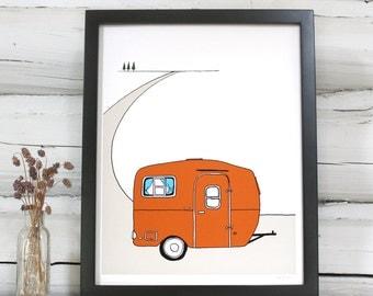 Vintage Camper art print. RV Trailer illustration
