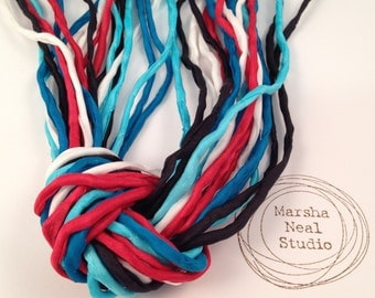 Hand Painted 2mm Silk Cord Red White Blue Black Patriotic Inspired Colors Craft Supplies