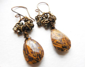 Rust Brown and Yellow Jasper and Brass Beaded Earrings, Rustic Jewelry, Dangle Earrings