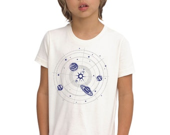 Organic Silver Solar System shirt for kids, navy with metallic ink, stars and planets, space science tshirt, rad awesome gift for all