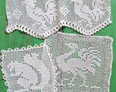 Antique Vintage Filet Crochet Picture Panels Squares White Cotton Handmade Hand Crocheted animals and birds - sewing project embellishments