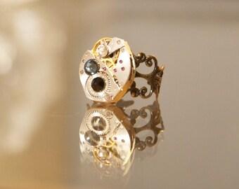 Antique Watch Ring with Swarovski Crystals