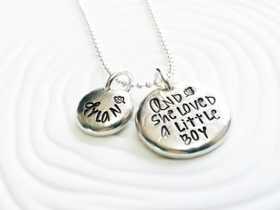 Little boy hand stamped personalized jewelry mother s necklace