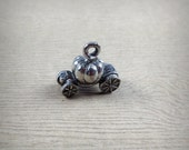 Pewter Cinderella Pumpkin Carriage Charm - Fairytale Charm - 3D Charm - Silver Tone Pewter - Cute Charms - Jewelry Supply - Princess Charm