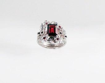 Garnet Empress Ring - in recycled silver