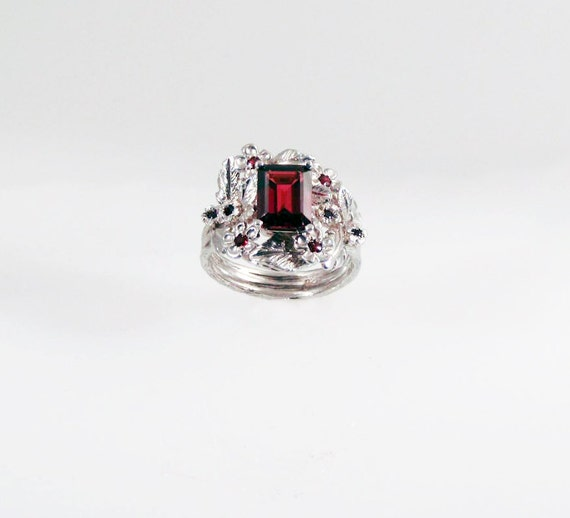 Garnet Empress Ring - in recycled silver