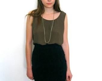Perfect High Waisted Black Suede Skirt