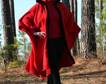 Little Red Riding Hood - Hooded Fleece Poncho or Cape with Fur Trim