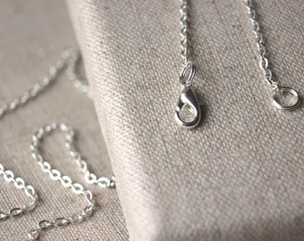 32 inch silver chain necklace light antiqued silver plated chain necklace 3mm - 2mm SMALL link chain very long silver chain layering SF38
