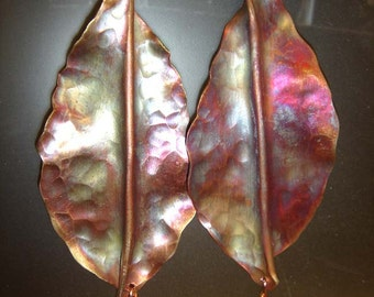 Copper Leaves Earrings-with Garnet dangle Hand forged and hammered- Iridescent