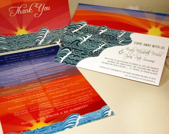 SAMPLE Beach Wedding Invitation, Ocean Sunset, Destination Wedding Invite, Blue Pocketfold, Yellow Sun, Red Outdoor Island Coast Shoreline