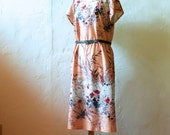Peach Floral Short Sleeved Midi Dress - Women's M