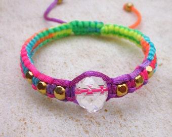 Crystal friendship bracelet, neon friendship bracelet, crystal macrame bracelet, rainbow rhinestone bracelet, fluo stacking bracelet