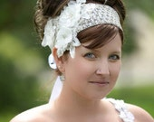 Bridal  Floral Lace Headband White-Ivory