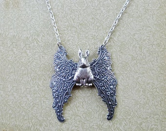 Silver Bunny Angel Necklace Filigree Winged Rabbit. Antiqued Silver Plated Ornate Wings Pet Guardian Angel Bunny Necklace Animal Jewelry