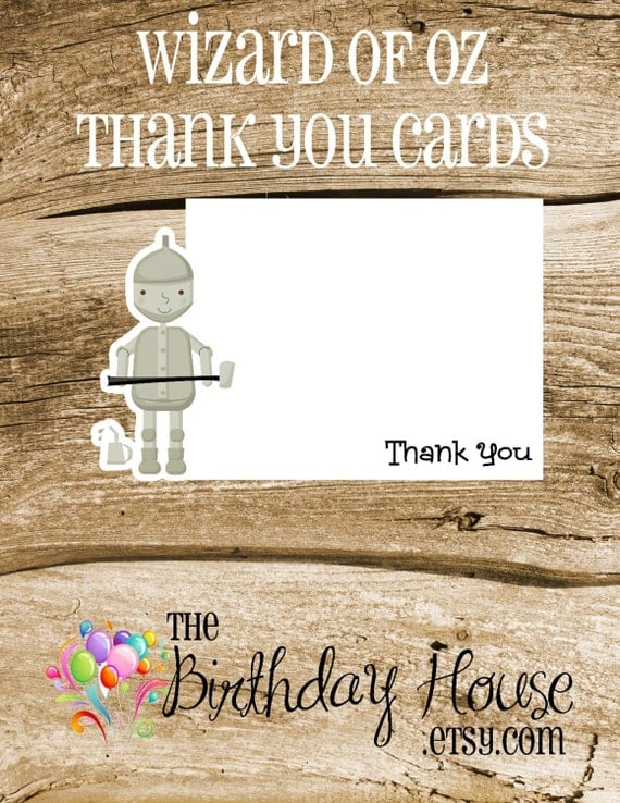 Wizard of Oz Party - Set of 8 Tin Man Thank You Cards by The Birthday House