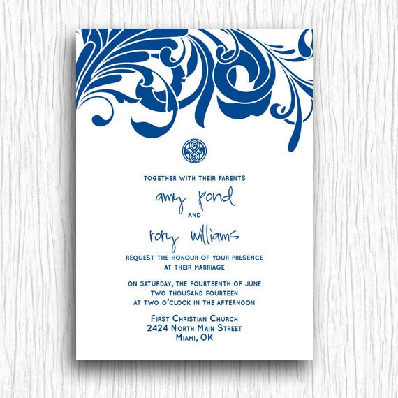 printable wedding invitation blue and white doctor who