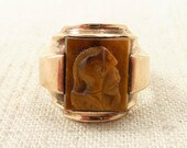 Size 10 Antique 1930's 10K Gold Tiger's Eye Cameo Ring