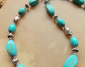 Turquoise and Vintage Silver Bead Necklace, Southwestern Style Necklace, Native Style, Handcrafted Jewelry