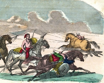 1858 Rare Antique Hand Coloured Engraving of Indian Riding Skills