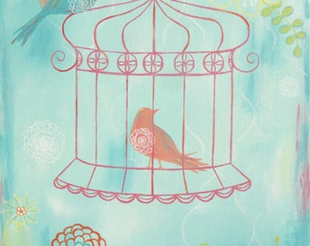 Childrens Art Print - Sherbet Crush Turquoise 8x10 - birdcage, girl, flower, bird, nursery wall decor