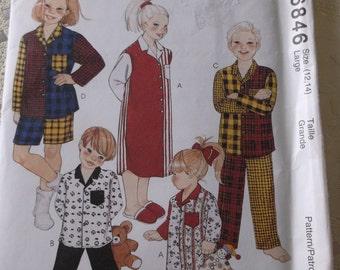 Children Pajamas Pattern Size12, 14, Easy Mccalls Pattern 6846 Boys Girls Night Shirt and Pajamas Pattern