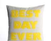 "BEST DAY EVER - recycled felt applique pillow 22""x 22"" - more colors available"