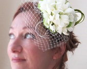 Ready to ship today! Bridal fascinator cream and green wedding fascinator INGABRIDAL