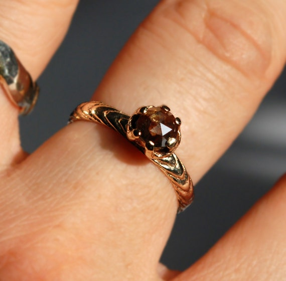 Dragon's Blood Diamond-14k Gold and Red Brown Diamond Cuttle Claw Ring