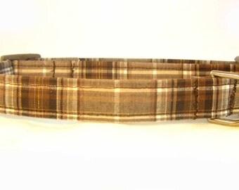 Dog Collar Fabric Adjustable Brown Gold Metalic Plaid