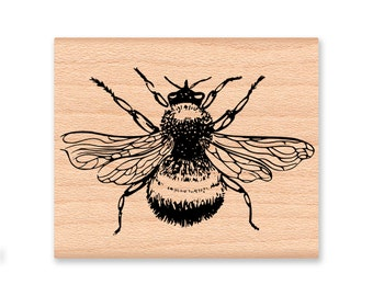 BEE rubber stamp~Wood Mounted Rubber Stamp Available in three sizes~Wood Mounted Stamp by Mountainside Crafts (25-14 S)(39-03 M)(39-04 L)