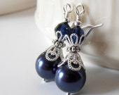 Navy Bridesmaid Jewelry Dark Blue Pearl Earrings Navy Blue and Silver Beaded Wedding Jewelry Set Bridesmaid Earring Crystal and Pearl Dangle