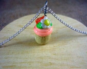 SALE - Orange Swirled Cupcake with Flower Necklace