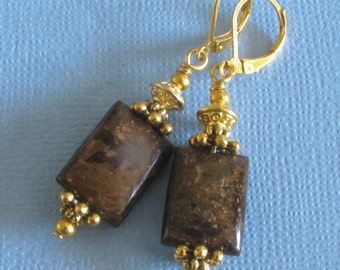 BRONZITE Brown Gemstone Gold Plated Drop LEVERBACK Earrings Artisan Hand Made