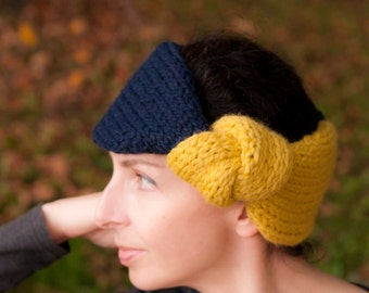 KnitKnot Headband - handknit knotted earwarmer color-blok two tone chunky knitted headband with giant knot Citron Navy or CHOOSE YOUR COLORS