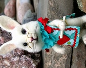 Reserved for Janica Meyers Spizzirri Alice's Wonderland White Rabbit - Teal & Hearts OOAK Needle felted Artist Doll
