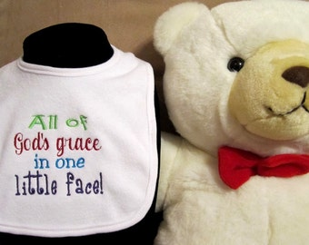 Embroidered Bib for Baby-God's Grace