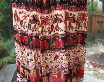 Tribal skirt, Boho skirt, India skirt, Elephant skirt, Wild animal skirt, Gauze skirt, size L / XL