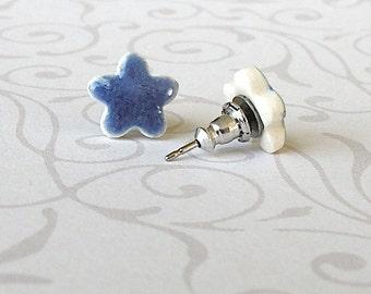Small Flower Earrings. Studs. Blue. Clay. Porcelain. Cornflower. Denim. Periwinkle. Sapphire. Minimalist. Ceramic. Surgical Steel. Simple