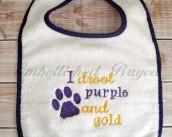 I Drool Purple and Gold Bib with Paw Print for Baby or Toddler, Geaux Tigers