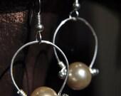 Wrapped Loop Earrings - Champagne Pearl