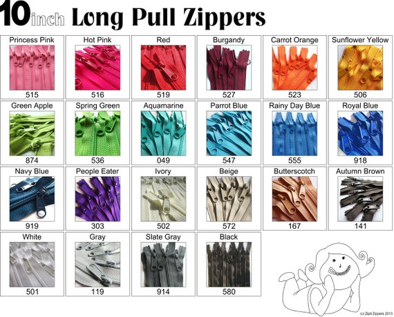 10 Inch 4.5 Ykk Purse Zippers with a Long Handbag Pulls Mix and Match Your Choice of 25 Zippers
