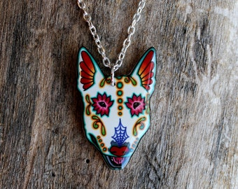 CLEARANCE - Day of the Dead Bull Terrier Sugar Skull Dog Necklace
