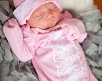 Girls Newborn Layette Gown & Hat, Lace and Cotton Newborn Gown, Newborn Infant Layette Gown, Infant Gown, Baby Shower Gift, Take Home Outfit